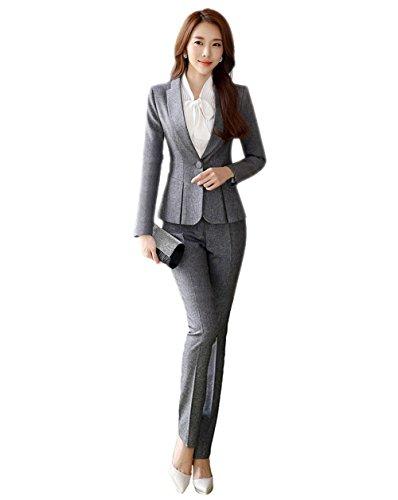 SK Studio Damen Business Hosenanzuge Slim Fit Blazer Reverskragen Karriere Hosen Anzug Set Grau 32 Tag M