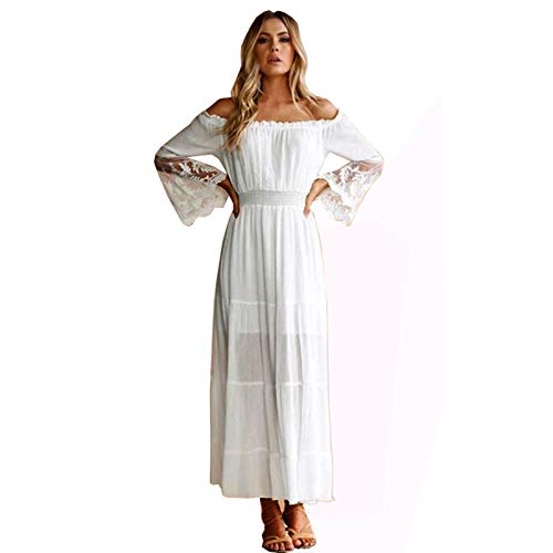 YUESUO Womens White Maxi Dress Off Shoulder Casual Bell Sleeve Lace Sexy Cocktail Party Wedding Dresses