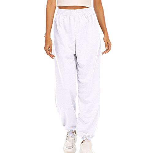 N\P Donne Casual Sport Pantaloni In Esecuzione Jogger Pantaloni Femminile Tuta In Vita Pantaloni Della Tuta, bianco, XL