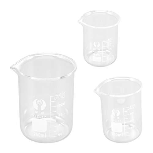 ULTECHNOVO Bicchiere di Vetro Low Form Griffin Science Beaker Senza Manico Misurino di Vetro Glassware Thick Low Form 50Ml 100Ml 250Ml for Laboratory White 3Pcs