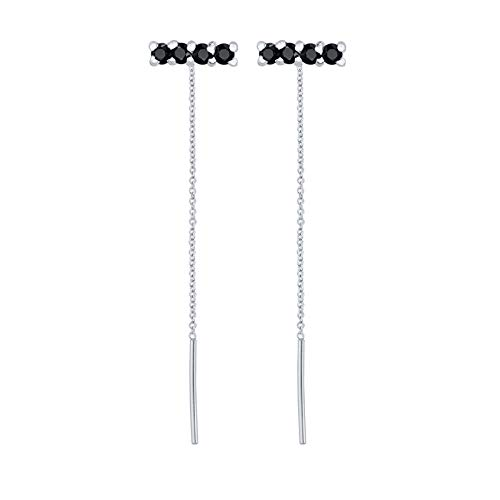 BOSAIYA SS1 2pcs Solid 925 Sterling Silver Minimalist Bling CZ Stud Earring For Ladies Woman Tassel Earrings Jewerly Accessories Brincos TL0412 (Gem Color : Navy Blue)