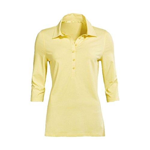 Modisches Damen Polo Shirt mit 3/4 Arm in Navy Blau, Gelb und Weiß mit grauen Streifen Größen M-XL (XL, Gelb)