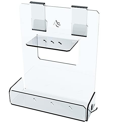 Portasapone doccia in plexiglass con 2 porta asciugamani - Mensola doccia senza foratura