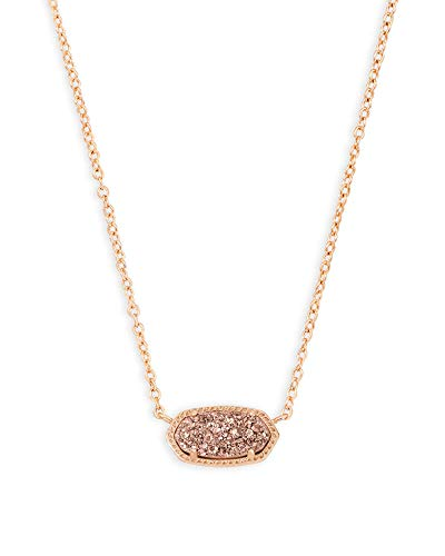 Kendra Scott Elisa Pendant Necklace for Women, Fashion Jewelry, 14k Rose Gold-Plated, Rose Gold Drusy