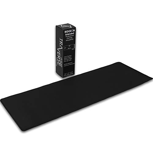 Pro Gaming Mouse Pad (5mm) | Traverse Ridge Extended 36 inch | 36x12x0.20 Extra Thick | Black/Black | Dense-Weave Speed Poly, Superior Control | Stitched Edge, Washable, Giant, Large Desk Mat
