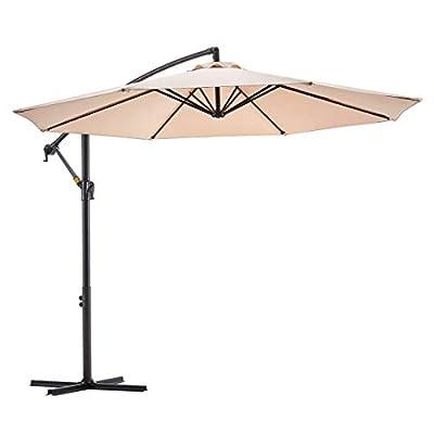 Le Conte 10ft Patio Offset Umbrella Cantilever Umbrella Hanging Market Umbrella Outdoor Umbrellas with Crank & Cross Base