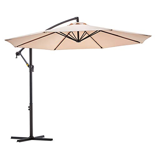 Le conte 10ft Patio Offset Umbrella Cantilever Umbrella Hanging Market Umbrella Outdoor Umbrellas with Crank & Cross Base (10 ft, Beige)