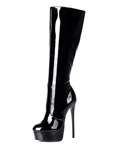 GIARO Stiefel in Übergrößen Schwarz Galana 1003 Black Shiny große Damenschuhe, Größe:46