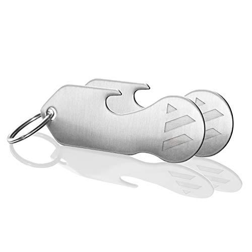 MAGATI Einkaufswagenlöser Schlüsselanhänger abziehbar multifunktional aus Edelstahl mit Schlüsselfundservice, Flaschenöffner und Profiltiefenmesser 2er Set
