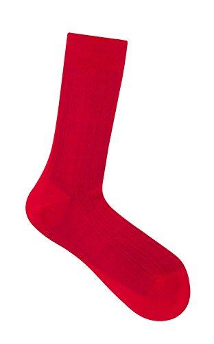 Rot Gerippte Baumwolle Lisle Socken Ankle