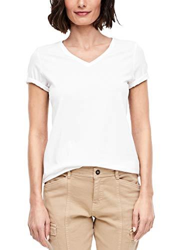s.Oliver Damen 04.899.32.6023 Kurzarm T-Shirt, White, (Herstellergröße: 36)