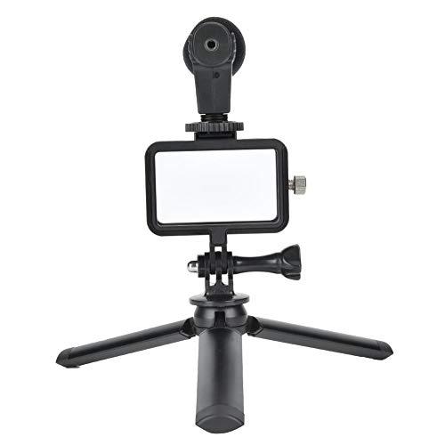 Selfie Camera Microfoon Statieven Kits, Acation Camera Mini Deskstop Statief Tafelblad Stand Handheld camerabeugel met beschermingsframe 3,5 mm USB-C audioadapter voor OSMO ACTION Cam