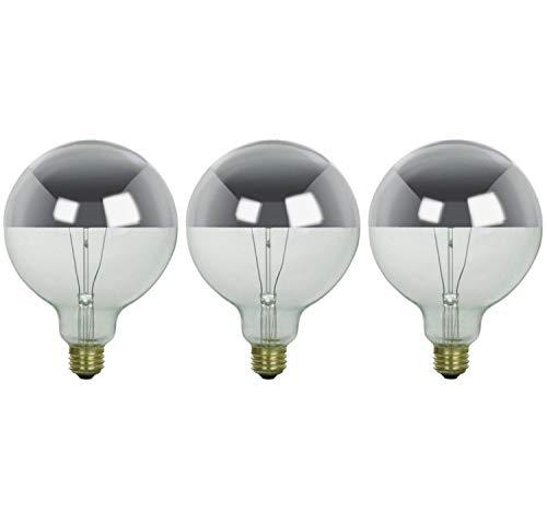 Sterl Lighting - Pack of 3 G25 Half Chrome Silver Bowl Globe Shape Incandescent Light Bulb - 60 Watts - 120 Volts - E26 Medium Base - 2700K - 500 Lumens