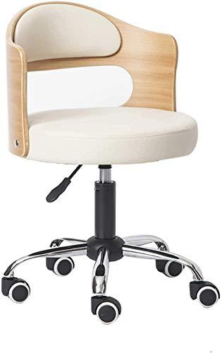 DFJU Cadeira de escritório sem braços Cadeira ergonômica para Mesa de trabalho de computador, encosto de Madeira maciça estofado em Couro PU Home