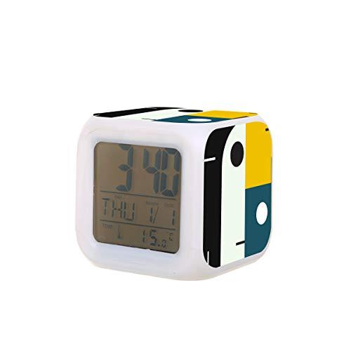 BAUHAUS AGE Elektrischer Wecker Nachtlicht Nickerchen Timer Schlaf Ton Maschine Temperaturerkennung mit 7 Farben Lichter