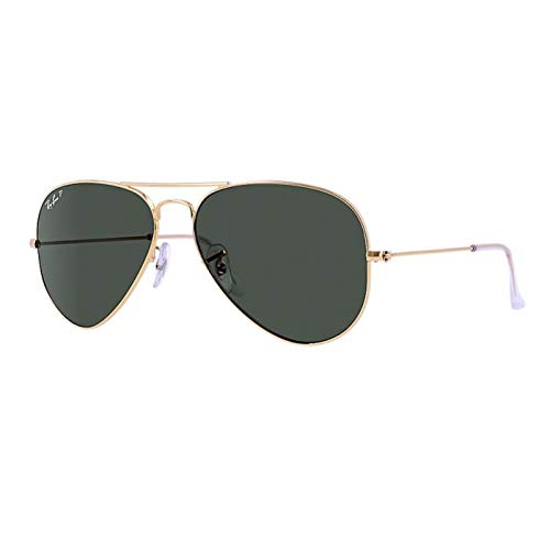 Ray-Ban RB3025 001/58 Unisex Aviator Sunglasses Polarized (Gold Frame / Green Polarized Lens 001/58, 55)