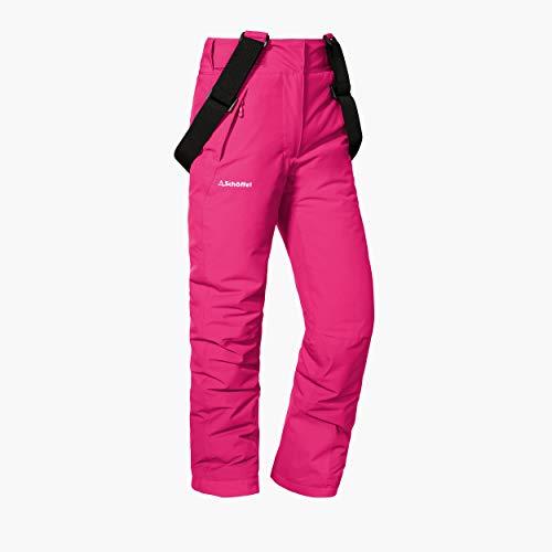 Schöffel Ski Pants Biarritz2, warme und wasserdichte Schneehose für Mädchen mit Schneefang, mitwachsende Snowboardhose für Mädchen Mädchen, pink yarrow, 176
