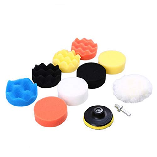 MAATCHH Polishing Pad Car Waxing Sponge Polishing Plate 11 Piece Set 3/4/5/6/7 Inch Sponge Wheel Polishing Pad Used for car Polishing,Sanding and Waxing (Color : C, Size : One size)