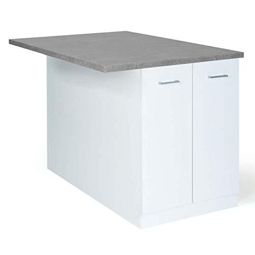 IDMarket - Ilot central IVO 120 cm blanc avec plan de travail effet béton