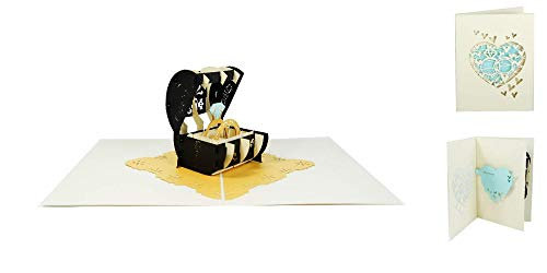 3D Pop Up Wedding Card Engagement Anniversary Marriage Proposal Congratulation Voucher- Wedding Rings 040