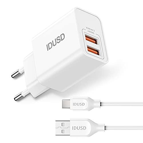 IDUSD Cargador para Móvil Tipo C Universal 2.4A Color Blanco para Casa con Cable de Carga USB C Compatible con Modelos Samsung S21 S20, Xiaomi Redmi 10 9, Huawei P40 P30, Oppo, Vivo, Realme, LG, TCL