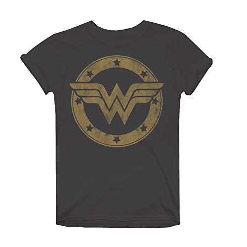 DC Comics Damen Wonder Woman Metallic Logo T-Shirt, Grau (Charcoal Cha), 38 (Herstellergröße: Medium)