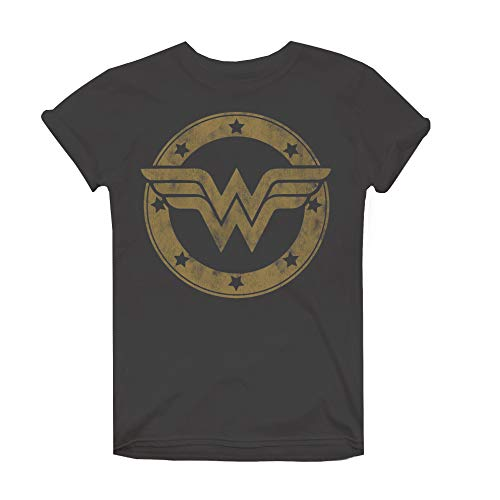 DC Comics Wonder Woman Metallic Logo Camiseta, Gris (Charcoal Cha), 40 (Talla del Fabricante: Medium) para Mujer