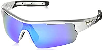 TOREGE Polarized Sports Sunglasses for Men Women Cycling Running Driving TR033 (Sliver&Black&Blue)