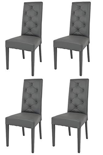 Tommychairs - Set 4 sillas Chantal para Cocina, Comedor, Bar y Restaurante, solida Estructura en Madera de Haya y Asiento tapizado en Polipiel Gris Oscuro