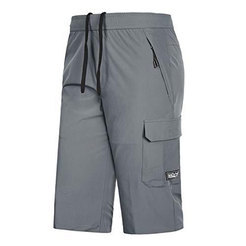 SHOULIEER Pantalones Cortos de Carga Grandes y Altos para Hombres Rodilla de Secado rápido Lense 7XL 8XL Male Bermudas Playa Corta Grey 8XL