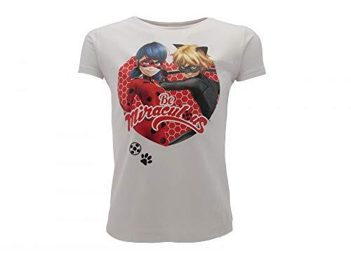 Miraculous Original Ladybug und Chat Noir Offizielles T-Shirt weiß, Weiß 7-8 Jahre