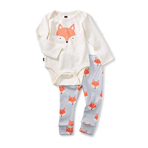 Tea Collection 2-Piece Bodysuit Baby Outfit, Chalk, Fox Design with White Top and Gray Pants (0-3 Months)