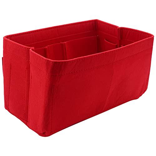 Uniquk Bolsa de Almacenamiento para el Hogar Roja Organizador de Monedero Bolsa de InsercióN de Fieltro Organizador de Maquillaje Monedero Interior PortáTil Bolsas de Almacenamiento