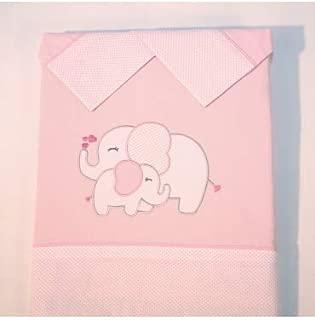 10XDIEZ Juego de sábanas Cuna Elefante Rosa - Medidas