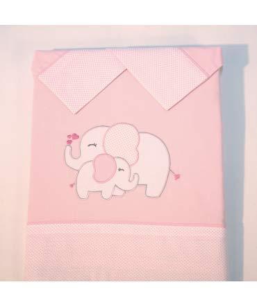 10XDIEZ Juego de sábanas Cuna Elefante Rosa - Medidas sabanas bebé - Minicuna (50x80cm)