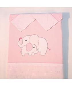 10XDIEZ Juego de sábanas Cuna Elefante Rosa - Medidas sabanas bebé - Cuna (60x120cm)