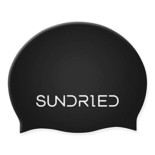 Sundried Silikon Schwimm Hat Pro Series Schulung Wettbewerb Badekappe Open Water, Pool, Triathlon Schwarz