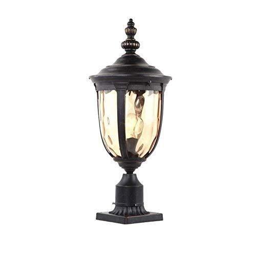 DULG European Victoria Rainproof Patio Column Lamp External Landscape Garden Post Light Seed Glass Aluminium Black Pillar Lantern Creative Entrance Pillar Lamp Landscape Home Decorative Lighting E27