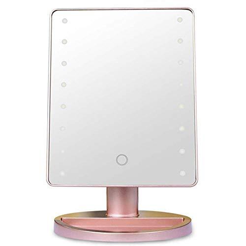 LG Snow Sensor Táctil De Escritorio Espejo De Maquillaje De Luz LED con Lupa De Succión 10x con Espejo De Luz Led (Color : Gold)