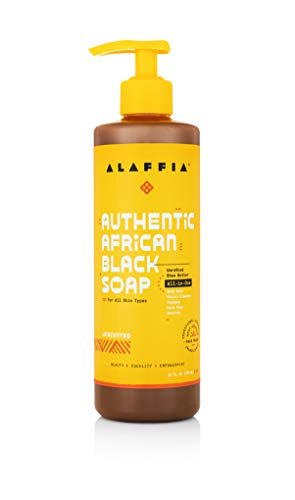 Alaffia Authentic African Black Soap All-in-One, Unscented, 16 Oz. Body Wash, Facial Cleanser, Shampoo, Shaving, Hand Soap. Perfect for All Skin Types. Fair Trade, No Parabens, Cruelty Free, Vegan
