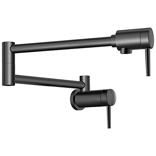 Delta Faucet Contemporary Wall-Mount Pot Filler Faucet, Matte Black 1165LF-BL