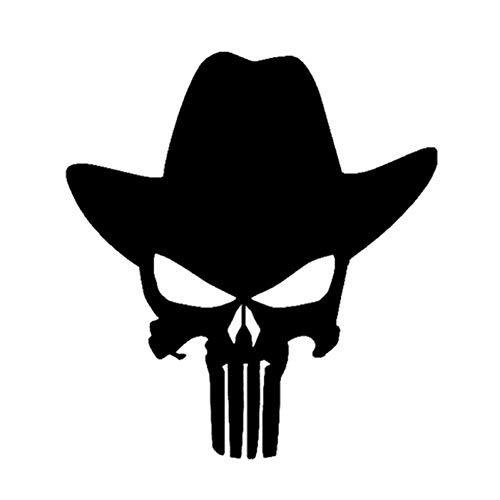 Autosticker 13,4 x 14,8 cm Punisher Cowboy hoed film klassieke autosticker decoratie vinyl accessoires zwart zilver