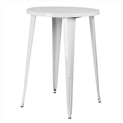 Patio Table, White 30-inch Round Outdoor Metal Bar Bistro Patio Table