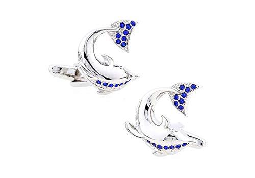 AYDOME Manschettenknöpfe Elegant Delphin Manschettenknöpfe Herren Personalisiert Manschettenknöpfe Silber Blau