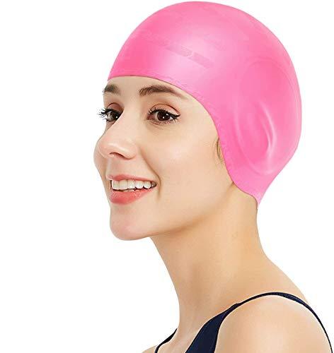 HIAME Cuffia da Nuoto, Cappelli da Nuoto in Silicone a Pelo Lungo, Cuffie da Nuoto Unisex per Coprire Le Orecchie, Spesse o Corte per Bambini, Donne e Uomini (Rosa)
