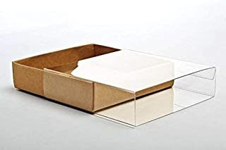25 Kraft Paper Stationary Boxes w Clear Sleeves, 4 1/2