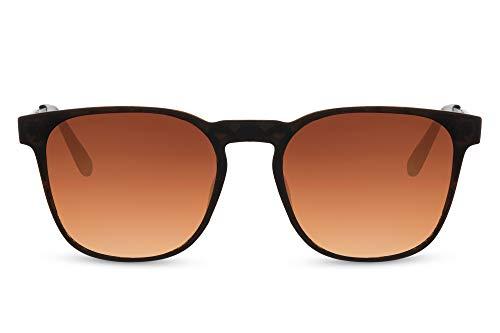 Cheapass Sunglasses Gafas de sol Modernas Clásicas Marco rectangular marrón con lentes degradados marrones y patillas de metal Vintage UV400 Protected Mens Womens