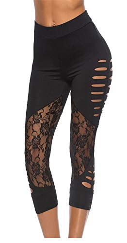 Fliegend Damen 3/4 Leggings High Waist Yoga Hose Push Up Jogginghose Spitzen Patchwork Fitnesshose Frauen Leggins Gym Workout Tights Sporthose Super Weich Elastisch