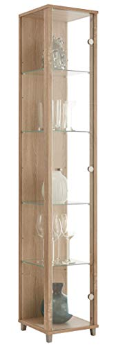 BR-Wohndesign Vitrina de cristal 172 x 32 x 33 cm en roble Sonoma con 4 estantes de cristal, perfecta para coleccionistas