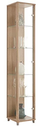 BR-Wohndesign Glasvitrine 172x32x33 cm in Sonoma Eiche mit 4 Glasböden, perfekt für Sammler